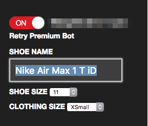 configuring a sneakerbot
