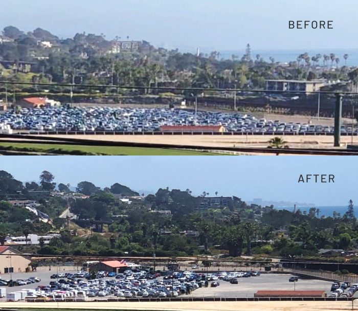 Del Mar Fairground's parking lot in San Diego on April 2 (before) and on June 7 (after)